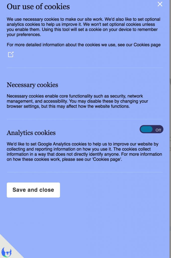 types of cookies declaration